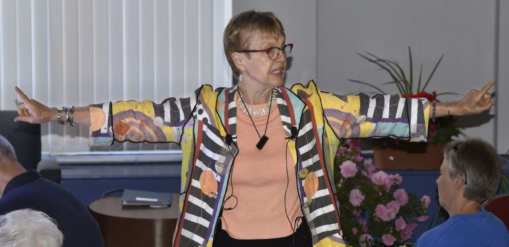 Dr. Carolyn Lukensmeyer was the keynote presenter Tuesday during the 32nd annual Thomas Nevola MD Symposium on Spirituality and Health at Colby College in Waterville.