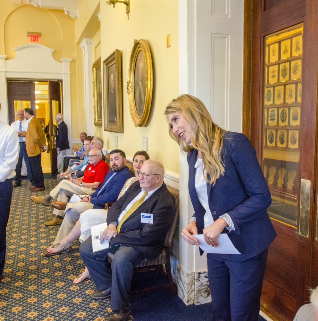 House Democratic Leader Rep. Erin Herbig, D-Freeport, delivers a message to the Senate saying that the House is in session on the opening morning of a special legislative session on Tuesday at the Maine State House in in Augusta. Part of the opening day ceremonies is that the two legislative bodies send members as messengers to each other and the governor's office announcing that they've convened.