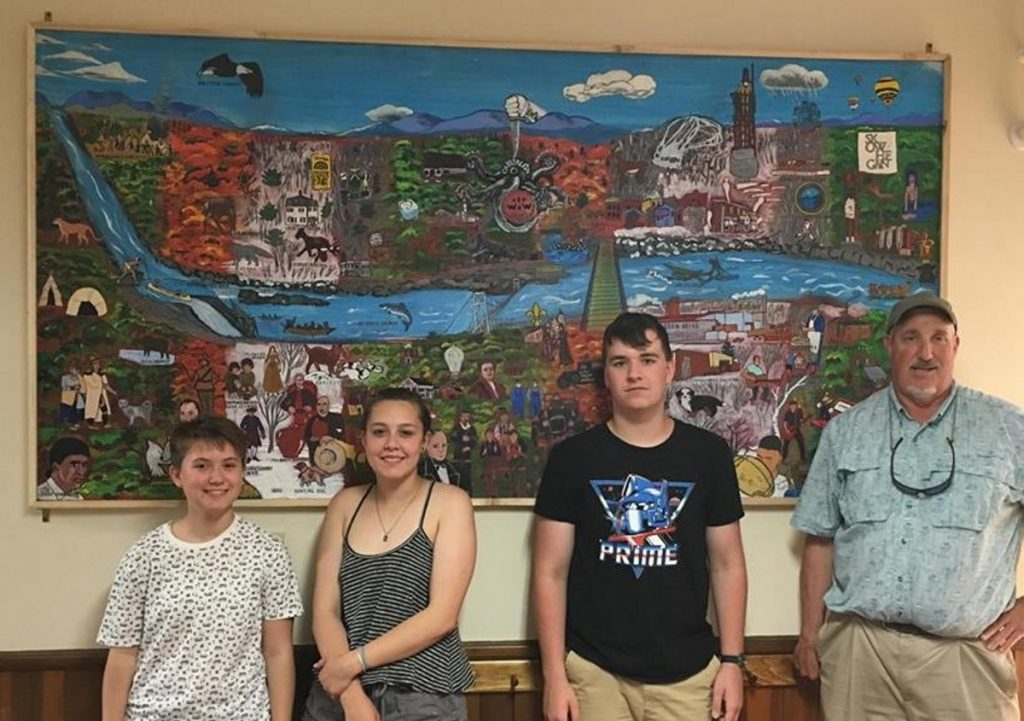 The Skowhegan Area High School Art Club, from left, are Alicyn Govoni, Hillaree Emery, Cole Herrick and Iver Lofving, art advisor.