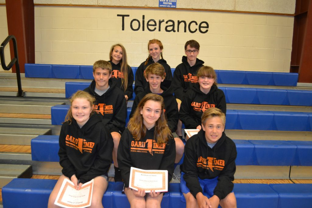 Gardiner Regional Middle School recently announced the following students were named its April, May and June Falcons of the Month. In front, from left are Allison Foust, Yana Montell and Gavin White. Middle row, from left are Wyatt Chadwick, Patrick Mansir and Emily Grady. In back, from left are Samantha Haskell, Grace Milliken and Hunter Mitchell.