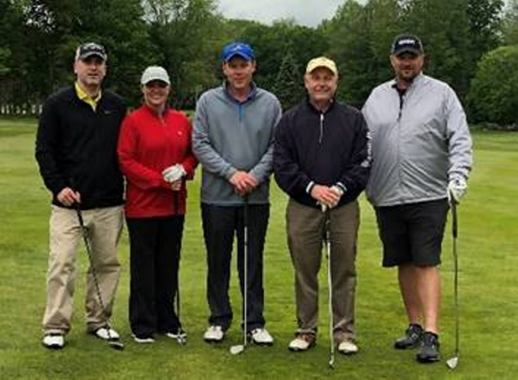 The five Mid-Maine Chamber of Commerce Chamber Golf Classic winners who tried their luck at $1,000,000, from left, are Todd Desjardins, of Keybank; Deborah Dow, of Bangor Savings Bank; Tony Dessent, of Pepsi; Mike Fortin, of Fortin's Home Furnishings; and Jonathan Seavey, of Gordon Contracting.