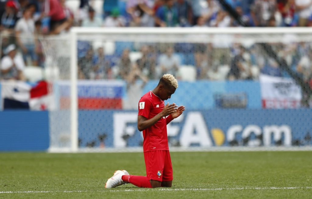 Panama's Michael Murillo kneels on the pitch following his team's 6-1 loss to England in their group G match at the 2018 World Cup on Sunday at the Nizhny Novgorod Stadium in Nizhny Novgorod, Russia. Panama qualified for the tournament and the United States did not.