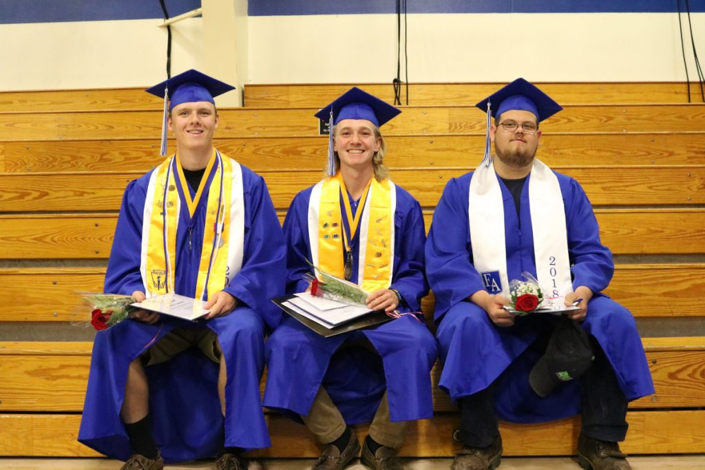 Erskine Academy Senior of the Trimester recipients, from left, are Noah Bonsant, Caleb Tyler and Austin Cowing.