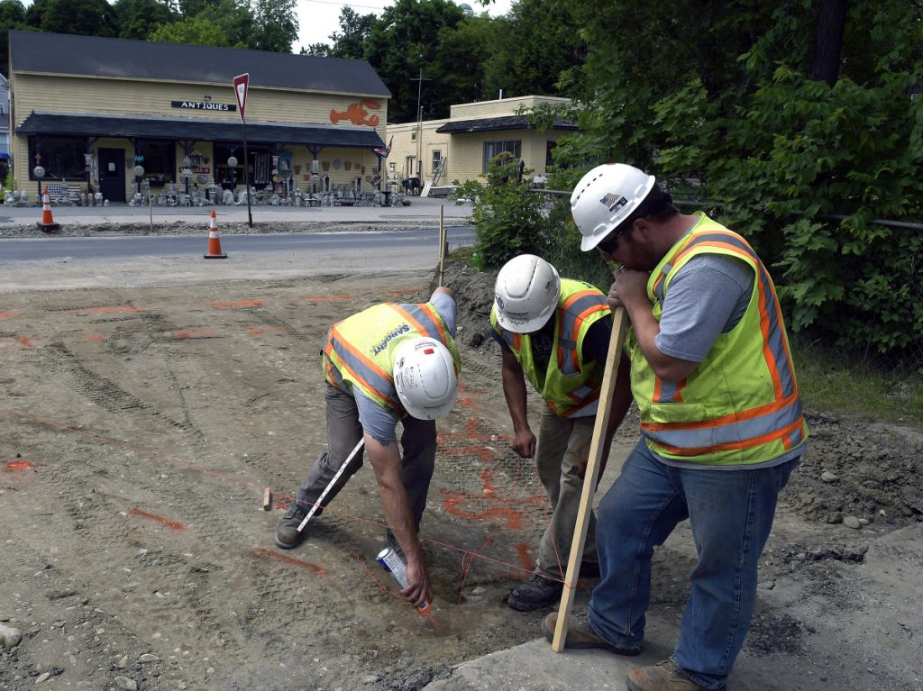 Sargent Corporation workers lay out the entrance to the Hallowell boat landing on Monday as park of the reconstruction of Route 201.