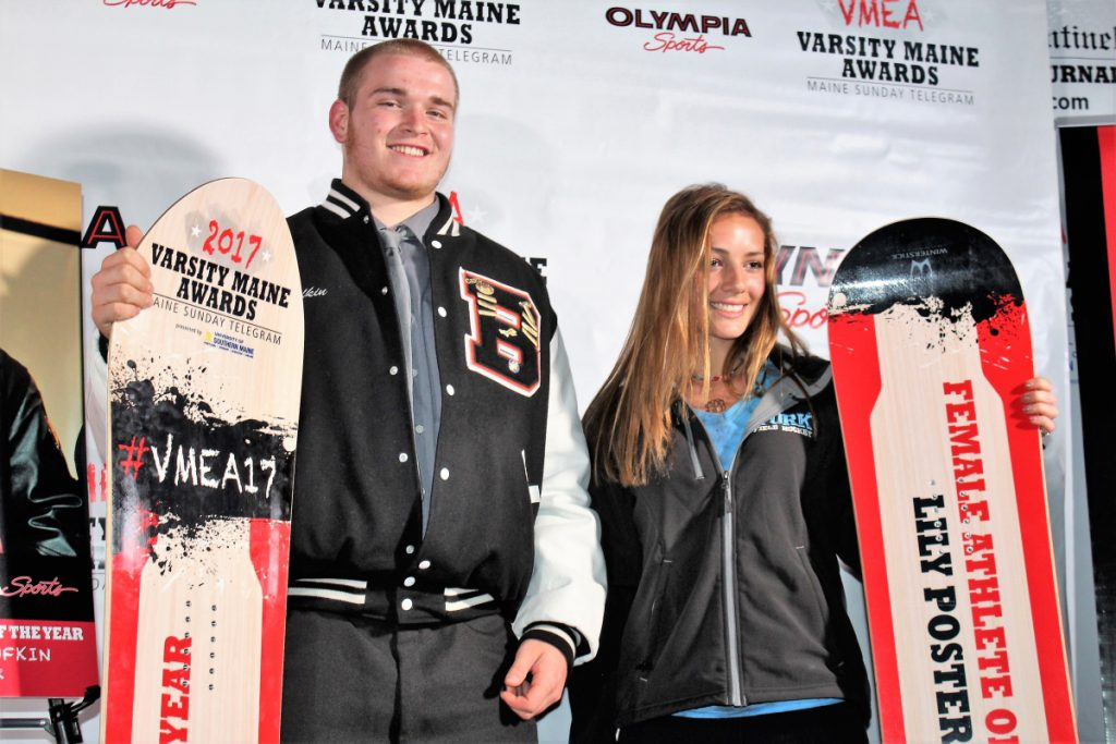 Austin Lufkin of Brewer and Lily Posternak of York won Athlete of the Year honors at the 2017 Varsity Maine Awards. This year's event will be held Tuesday night.