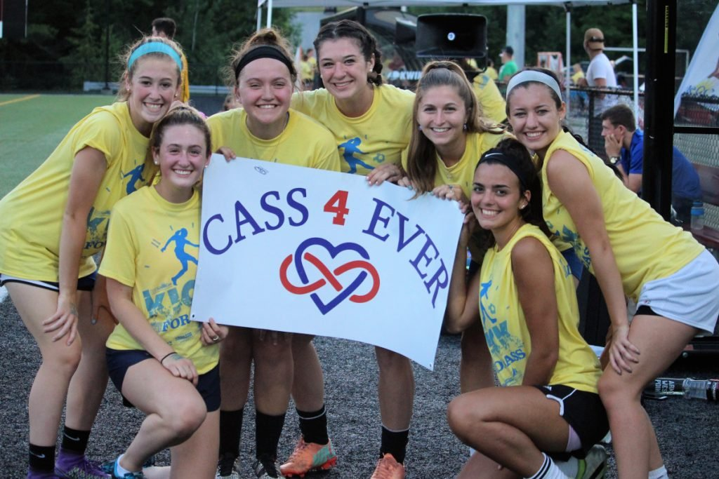 Former Central Maine United Premier Soccer teammates reunite to play in last year's Kick Around the Clock for Cass. The second annual 11-hour soccer event is schedule for July 15 on Smith Field at Thomas College in honor and memory of Cassidy Charette. Some of Charette's former teammates, pictured from the 2017 event, front from left, are Sammy Grandhal and Jordyn Jabar. In back, from left, are Emily Grandhal, Jordyn Labrie, Paige Smith, Eryn Doiron and Devin Fitzgibbons.