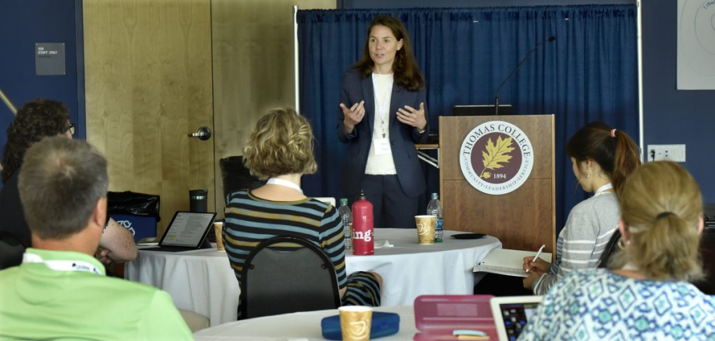 Mara Tieken, the keynote speaker Wednesday during a workshop of the Center for Innovation in Education Summer Institute at Thomas College in Waterville, addressed rural education and the challenges it faces with changing demographics.