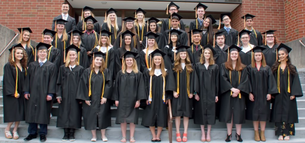 Maine Connections Academy 2018 graduates, front from left, are Abigail Roy, Christian Gagnon, Zoe Morey, Brianna McDonough, Machella Allen, Elisabeth Seliga, Taylor Vines, Elizabeth Curtis, Chloe Waugh, Emma Compton and Velstara Vardamis-Henry. Second row, from left, are Lilia Beal, Abagail Cress, Sumir Mahonen, Kyara Dawbin, Sarah Legere, Elizabeth Linnell, Ella Fields, Dylan DesFosses, Isaiah Audet, Alycia Jajliardo and Kassandra Isaac. Third row, from left, are Macayla Curato, Gavin Furrow-Casement, Allison Sprous, Sarah Levier, Seth Levier, Elexis DuBose, Benjamin MacLennan and Wyatt Howe. Fourth row, from left, are Principal Chad Strout, Abigail Mitchell, Emily Stone, Emily McNally, Peter Cornelio and Nolan DeMoranville.