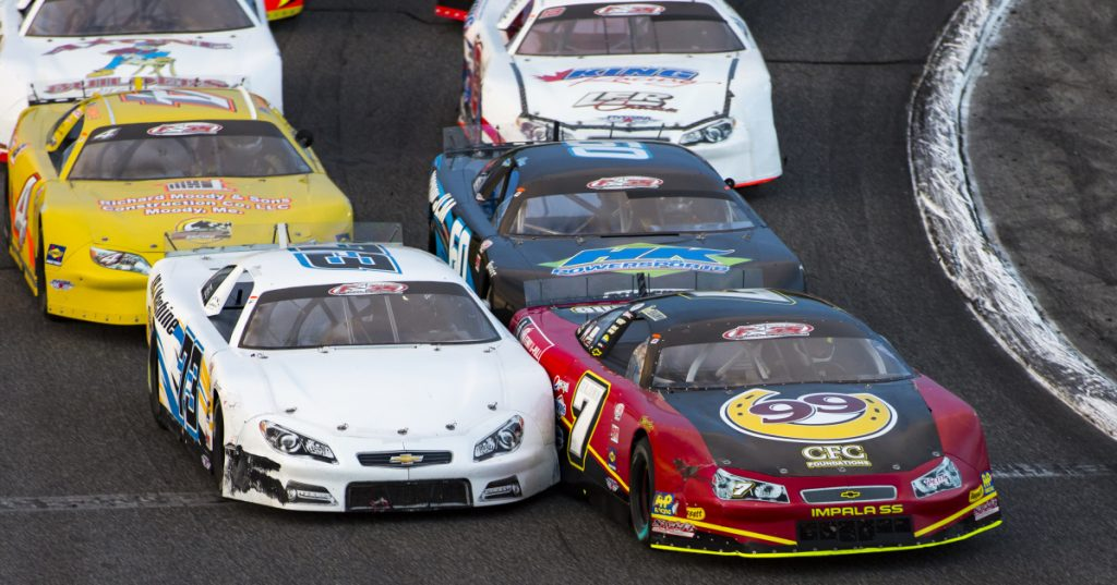 Travis Benjamin (7) leads the early stages of the 2016 Oxford 250. Benjamin is a two-time winner of the race in contention for a third Pro All Stars Series championship this season.