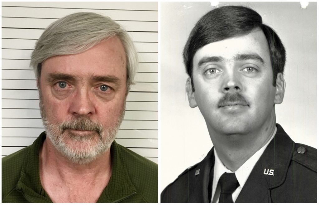 This combination of photos provided by the U.S. Air Force Office of Special Investigations shows William Howard Hughes Jr., after being captured in June 2018, at left, and an image from his time at the U.S. Air Force. Hughes, a Kirtland Air Force Base officer with top security clearance, disappeared 35 years ago and was found in California after a fraud investigation involving a fake identity he had been using.