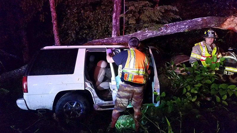 Several juveniles were injured when a 1999 Cadillac Escalade hit a tree Friday morning in Fryeburg.