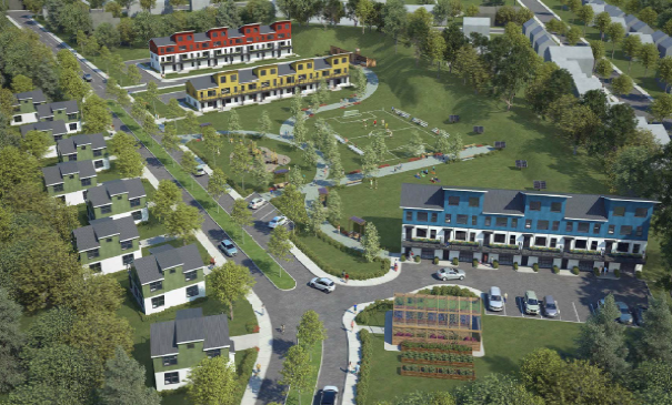 This rendering shows the O'Neil Street neighborhood redevelopment proposal.