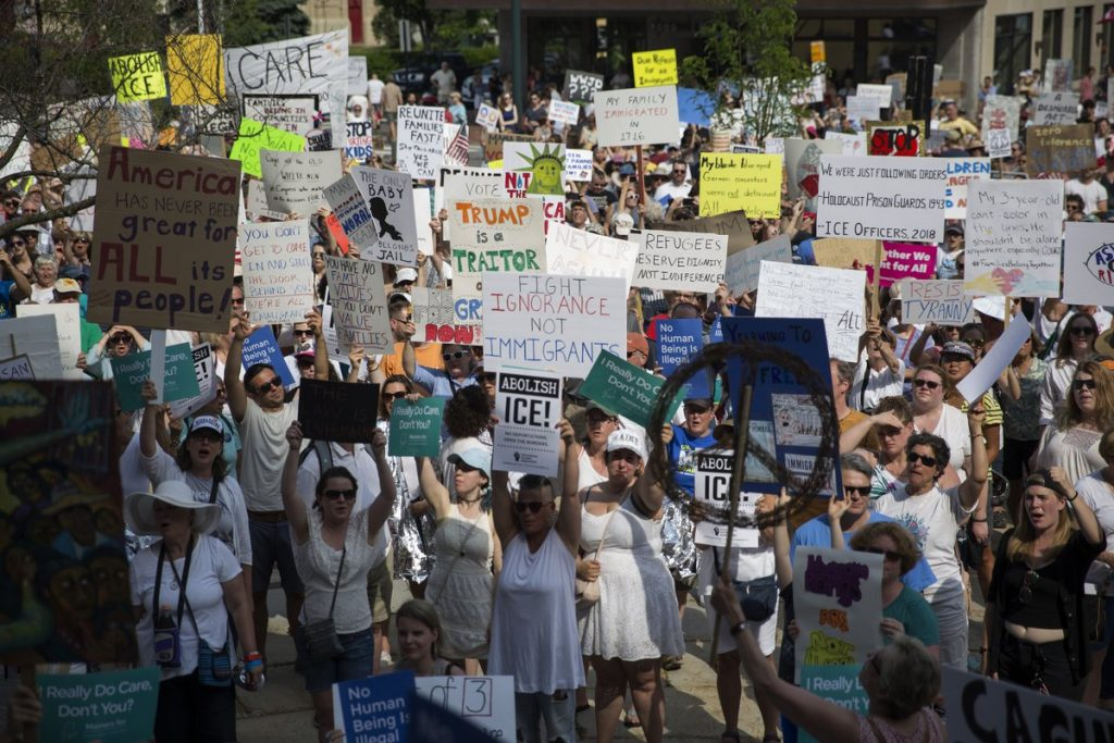 "Thousands of protesters gathered at Portland's City Hall for the ""Families Belong Together"" rally, one of hundreds of similar events that were being held across the nation on Saturday, June 30, 2018."