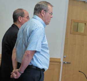 Robert Welch, right, stands with one of his attorneys, Gerard Conley, on Wednesday in West Bath District Court. Welch pleaded guilty to sex crimes against a minor that happened from 2008-17 in Topsham.