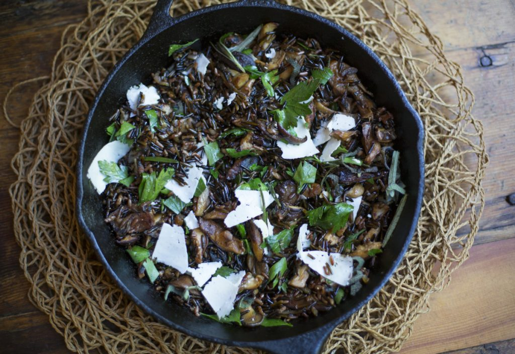 Warm Wild Rice Salad with Mushrooms, Herbs and Aged Goat Cheese.