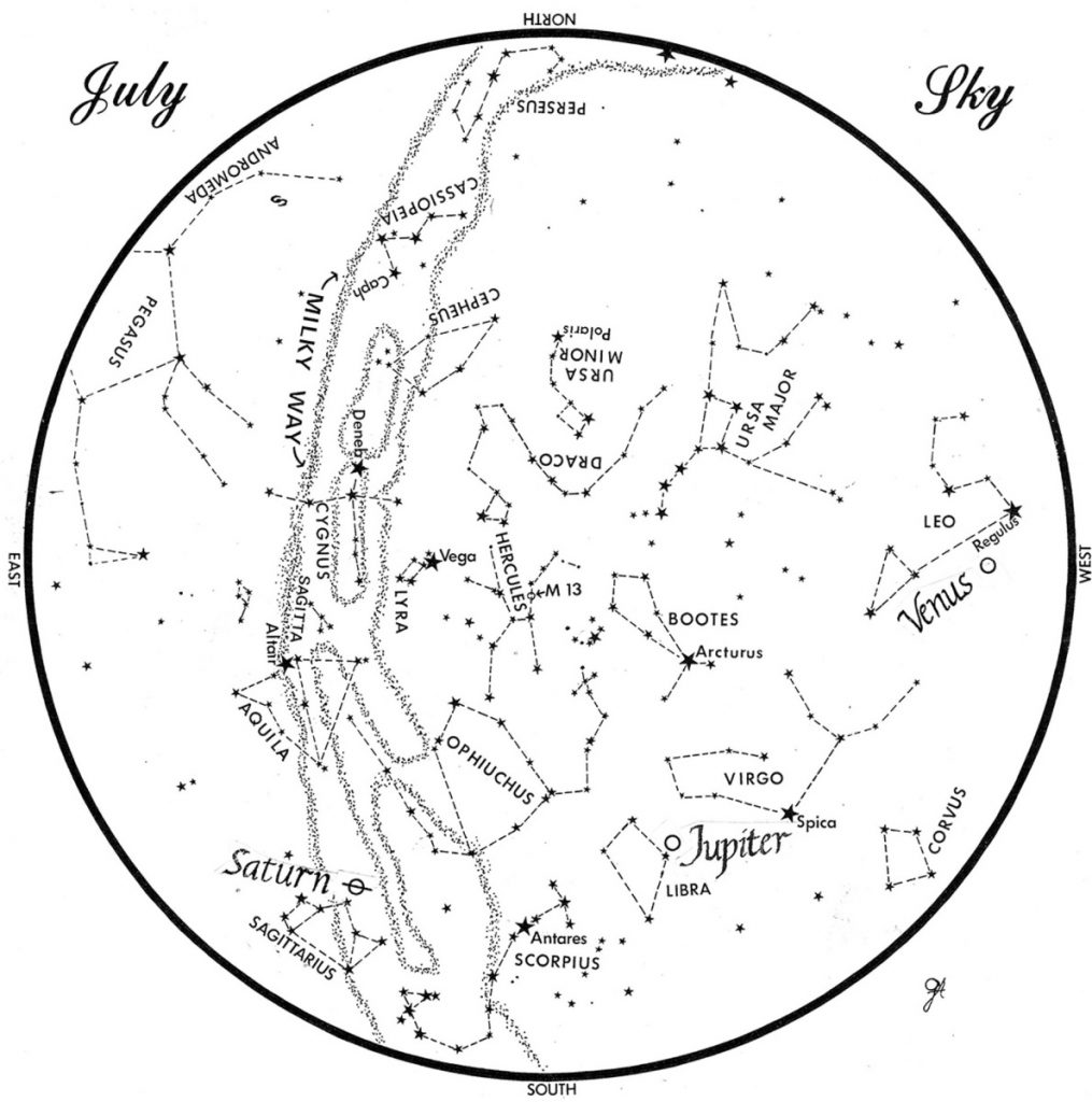 SKY GUIDE: This chart represents the sky as it appears over Maine during July. The stars are shown as they appear at 10:30 p.m. early in the month, at 9:30 p.m. at midmonth and at 8:30 p.m. at month's end. Saturn, Jupiter and Venus are shown in their midmonth positions. To use the map, hold it vertically and turn it so –the direction you are facing is at the bottom.