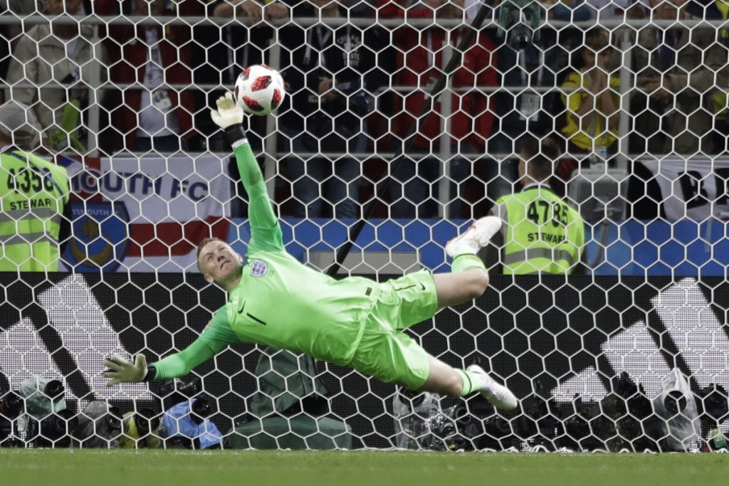 England goalkeeper Jordan Pickford saves a penalty during the round of 16 match between Colombia and England on Tuesday in Moscow. England advanced on penalty kicks.
