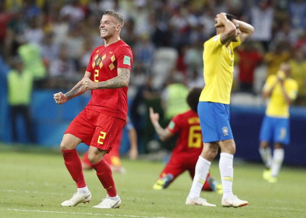 Belgium's Toby Alderweireld, left, celebrates his team's 2-1 win over Brazil in a World Cup quartefinal Friday in Kazan, Russia. Belgium advanced to play France on Tuesday.