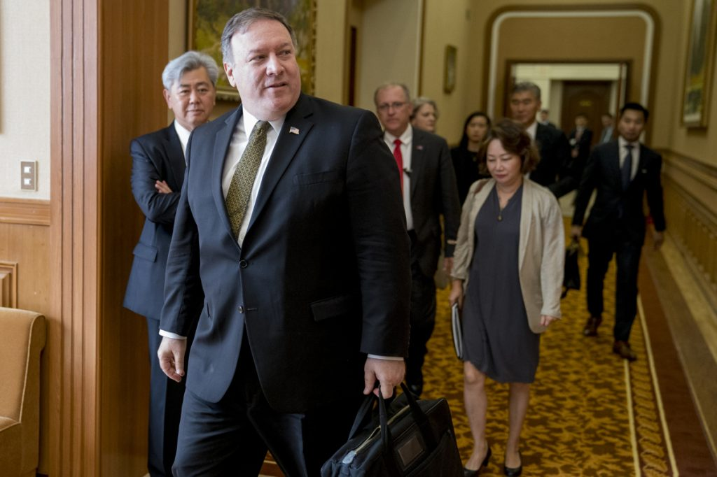 Secretary of State Mike Pompeo arrives for a meeting with Kim Yong Chol, a North Korean senior ruling party official and former intelligence chief, for a second day of talks in Pyongyang, North Korea on Saturday. Pompeo is on a trip traveling to North Korea, Japan, Vietnam, Abu Dhabi, and Brussels.