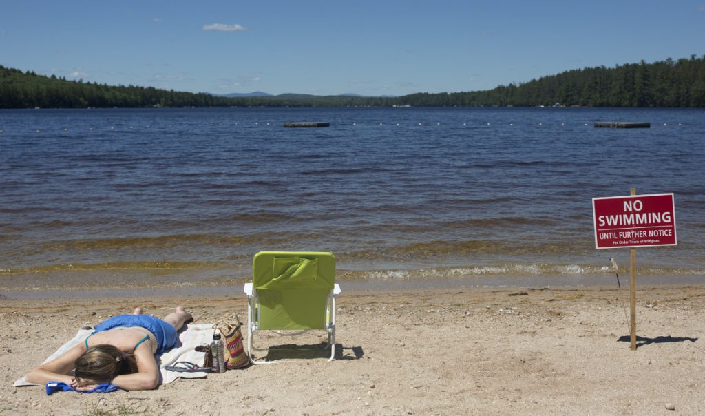 Naples resident Christy Dow sunbathes Saturday on Woods Pond Beach in Bridgton, where a number of people reported falling ill after being in the water last week.