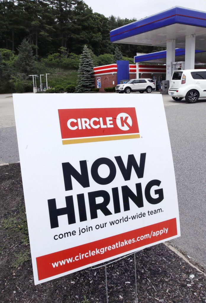 A gas station in Raymond, N.H., tells the world it has job openings to fill Tuesday.