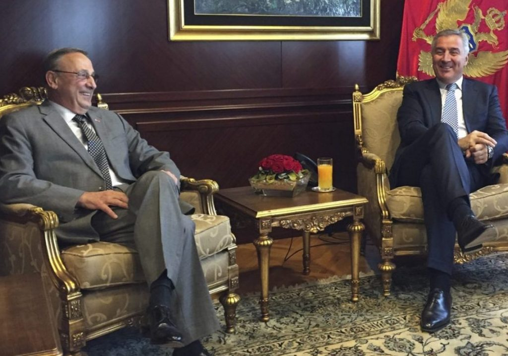 "Gov. LePage meets with Montenegro President Djukanovic. ""I really hope that our countries, Maine and Montenegro, develop a good economic trade ... we are going to send you some lobster,"" LePage said Monday. Photo from Gov. LePage's Twitter feed."