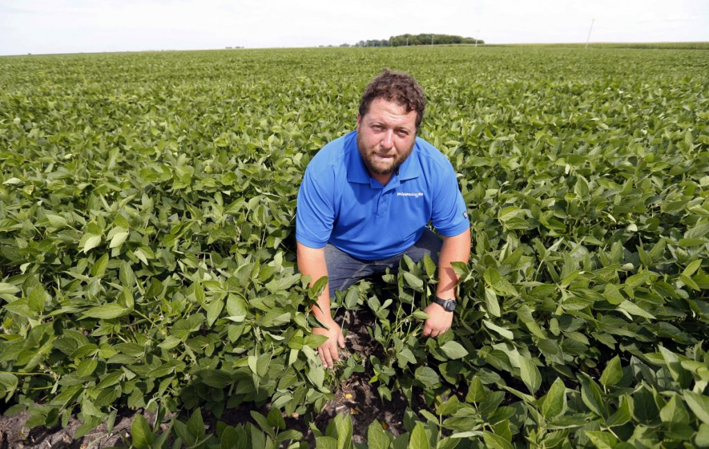 In this July 18, 2018 photo, soybean farmer Michael Petefish poses in his soybean field at his farm near Claremont in southern Minnesota. American farmers have put the brakes on unnecessary spending as the U.S.-China trade war escalates, hoping the two countries work out their differences before the full impact of China's retaliatory tariffs hits American soybean and pork producers. AP Photo/Jim Mone