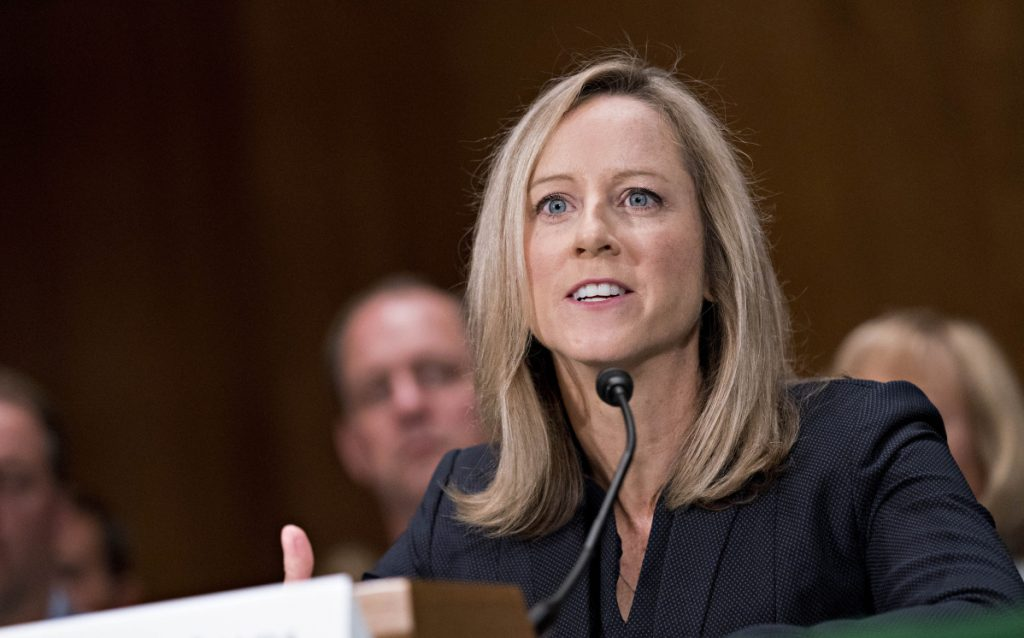 Kathy Kraninger, the nominee to lead the Consumer Financial Protection Bureau, speaks at the confirm- ation hearing.