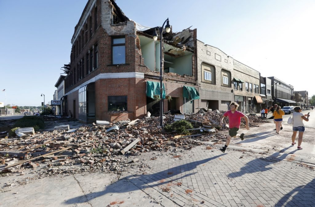 Main Street of  Marshalltown, Iowa on Thursday. Several buildings were damaged by a tornado in the main business district in town including the historic courthouse.