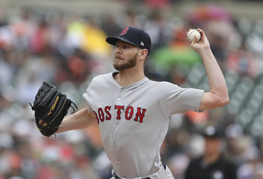 Red Sox starting pitcher Chris Sale struck out nine in six scoreless innings as the Red Sox beat the Tigers 9-1 in Detroit.