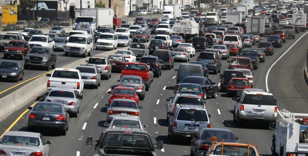 Bumper-to-bumper traffic moves through Los Angeles in 2006. The Trump administration has taken aim at California and 12 other states, including Maine, that have been allowed to set their own rules for limiting greenhouse gases from vehicles.