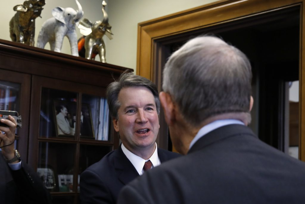 Supreme Court nominee Judge Brett Kavanaugh, left, meets with Sen. Lamar Alexander, R-Tenn., last week in Washington while making the rounds prior to hearings.