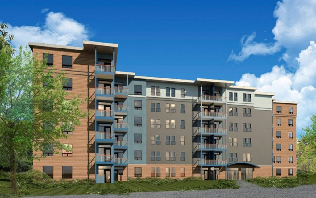 An artist's rendition shows one of four, six-story apartment buildings that South Portland developer Vincent Maietta plans to build at 450 Clark's Pond Parkway, near the Maine Mall.