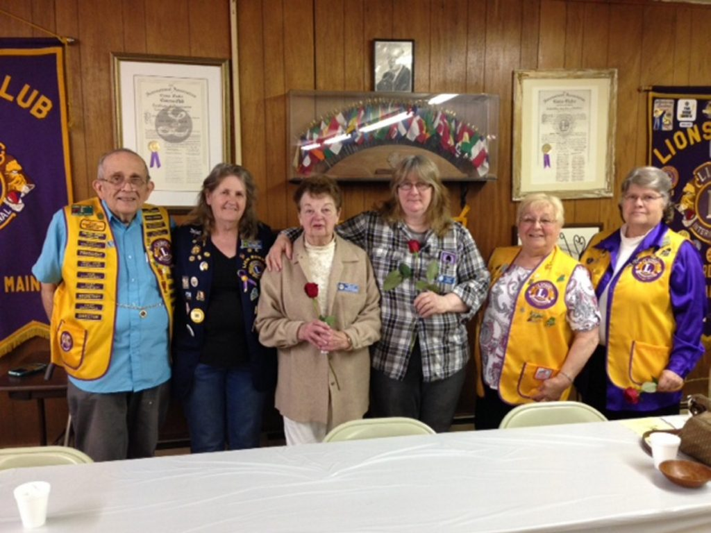 From left are the Gardiner/Augusta Lions Past President PID Lew Small, President Bunny Parks, Treasurer Jeanette Weber, Second Vice President Linda Shorey, First Vice President Terry Cloutier and Secretary Marie Bronn.