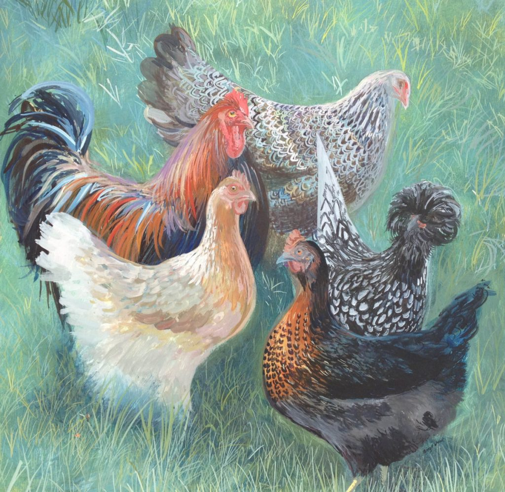 """Stanley and The Girls,"" Egg Tempera, by Amy Peters Wood, of Georgetown."