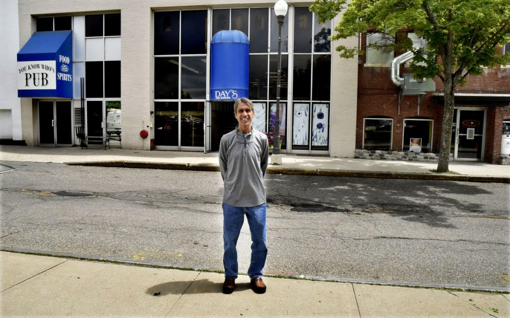 Kevin Joseph, owner of You Know Whose Pub in the Concourse in Waterville, stands on June 6 in an area in front of his business and the Ital-iah restaurant where the City Council on Tuesday approved the introduction of outdoor dining.