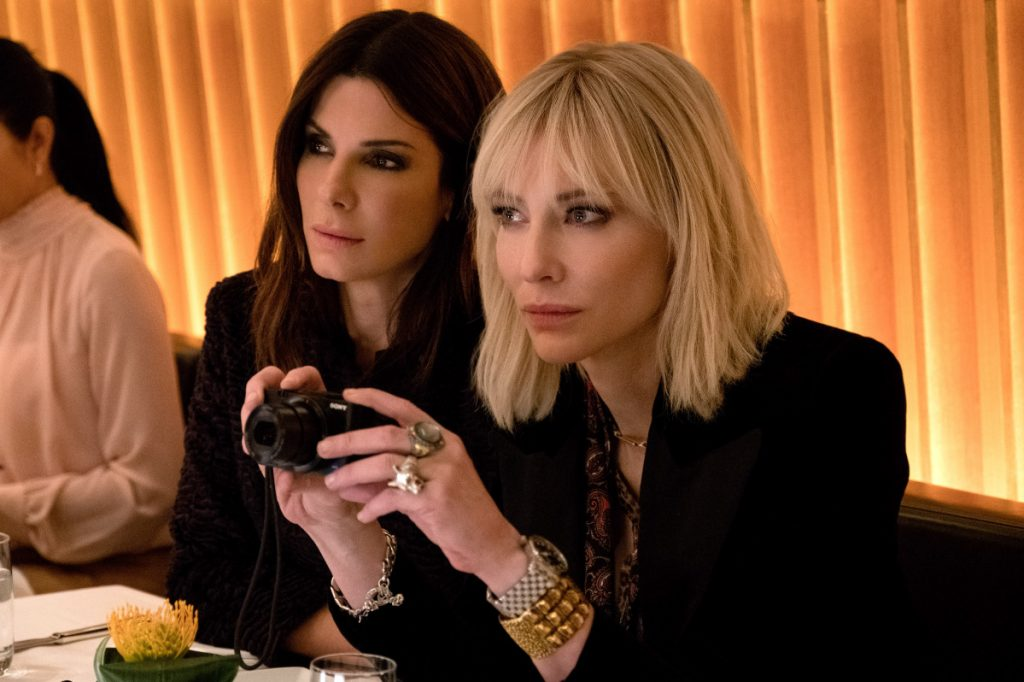 "Sandra Bullock and Cate Blanchett in ""Ocean's 8."" MUST CREDIT: Barry Wetcher, Warner Bros. Pictures"