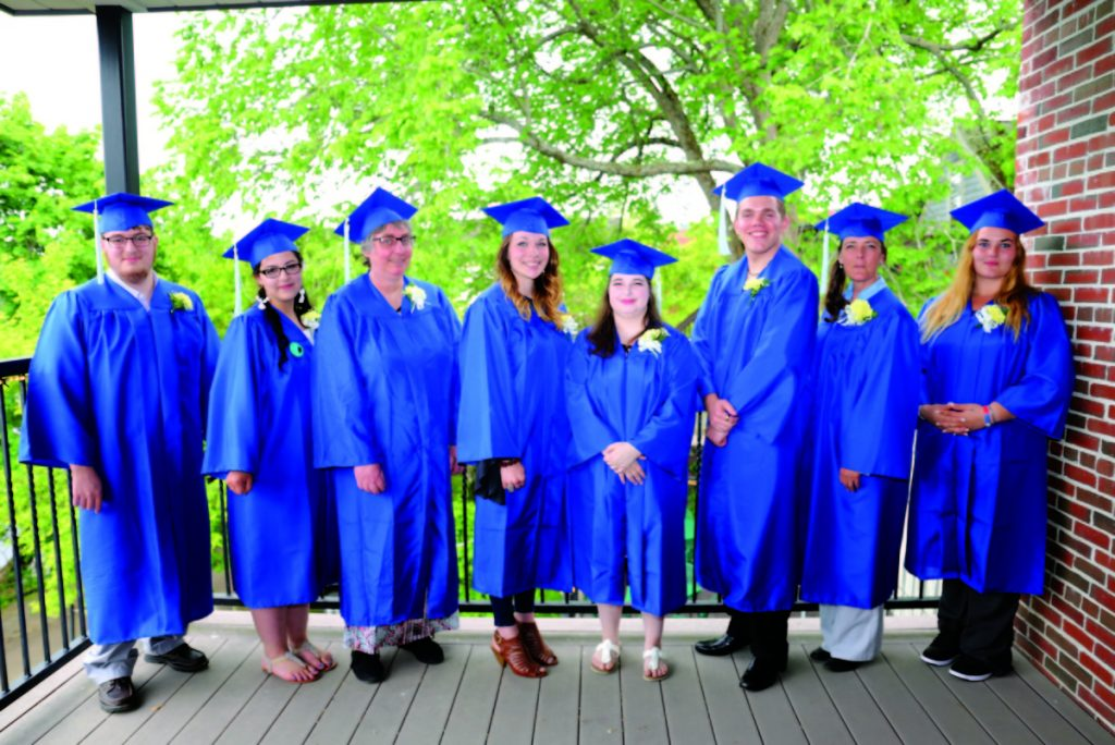 School Administrative District 11 Adult Education graduates, from left, are Joshua Croxford-Royce, Haylee Larrabee, Doreen French, Sarah Lund, Abigayle Haskell, Joseph Arsenault, Jane Linn and Gypsy Dow.