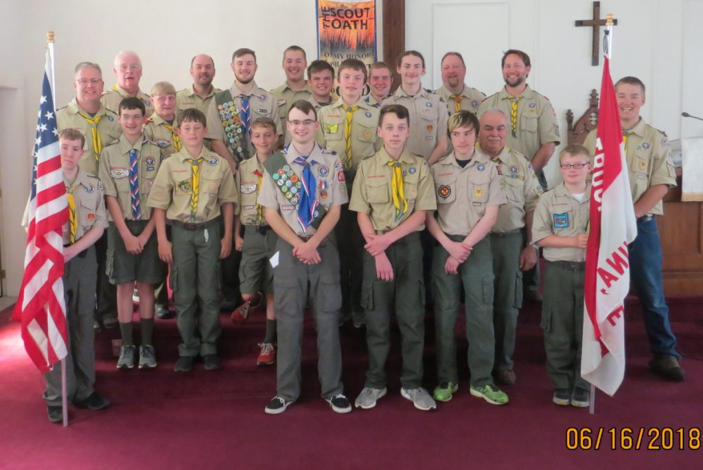 Front, from left, are Nick Shelton, Leader Tucker Leonard, Cole Corson, Michael Boostedt and Dylin Breton. Second row, from left, are Aiden Pettengill, Grayson Podey, Reny Pettengill and Leader Ron Emery. Third row, from left, are Leader Joe Shelton, Leader Priscilla Adams, Hunter Praul, Nivek Boostedt and Andrew Weymouth. Back row, from left, are Scoutmaster Scott Adams, Leader Darryl Praul, Madison Bodine, Curtis Weymouth, Misha Littlefield, Leader Christian Hunter, Leader Doug Leonard and Leader Aaron Podey.