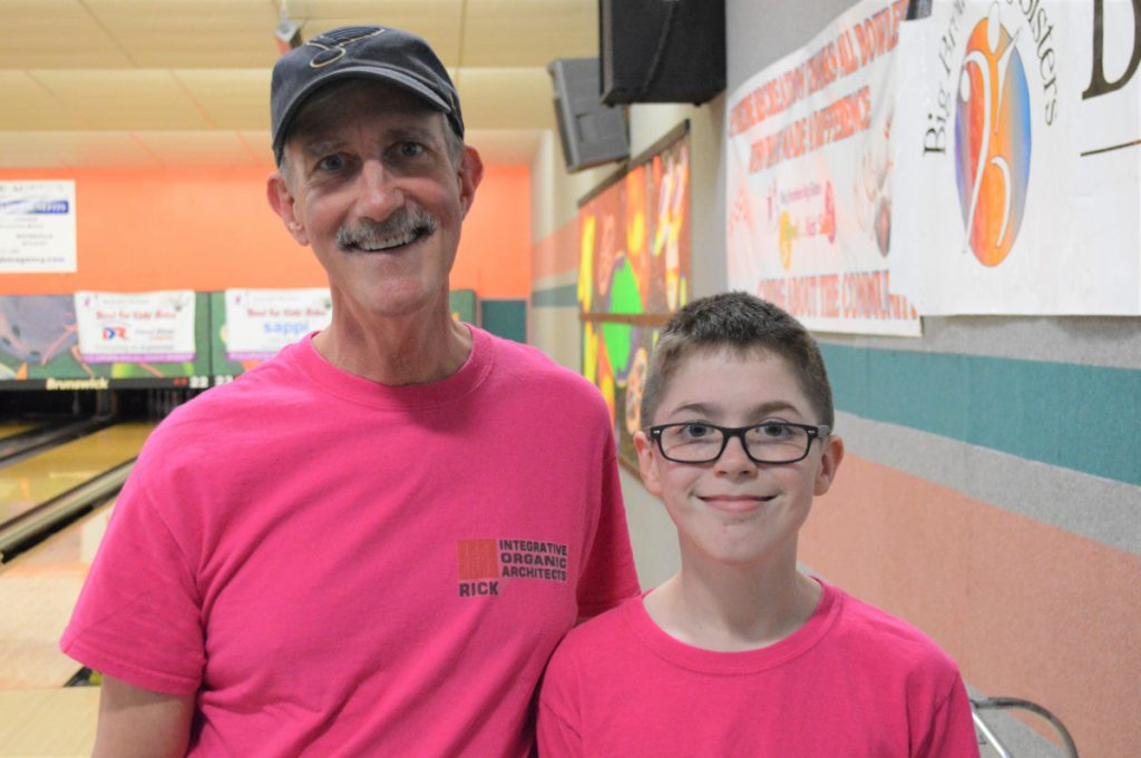 """Big Brother"" Rick Eskelund, left, and his ""Little Brother"" Donald Riopelle were among the top fundraisers in this year's Kennebec Valley Big Brothers Big Sisters of Mid-Maine Bowl for Kids' Sake. Eskelund and Riopelle collected $2,435 in pledges that helped raise $80,000 by hundreds of bowlers who came out to support local youth mentoring."