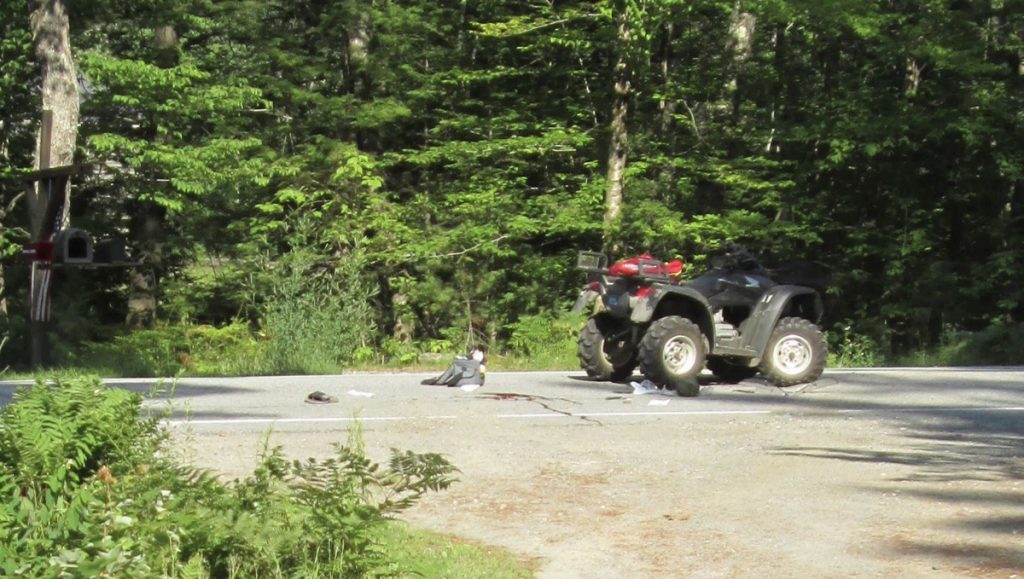 An ATV involved in a crash in Mount Vernon is seen July 4. A Rhode Island man died from his injuries sustained in the crash, police said.