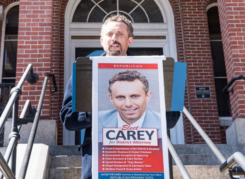 Seth Carey holds a news conference in Auburn on April 9. Seth Carey, who has been accused of sexual abuse and whose law license is suspended, is moving ahead with his campaign.