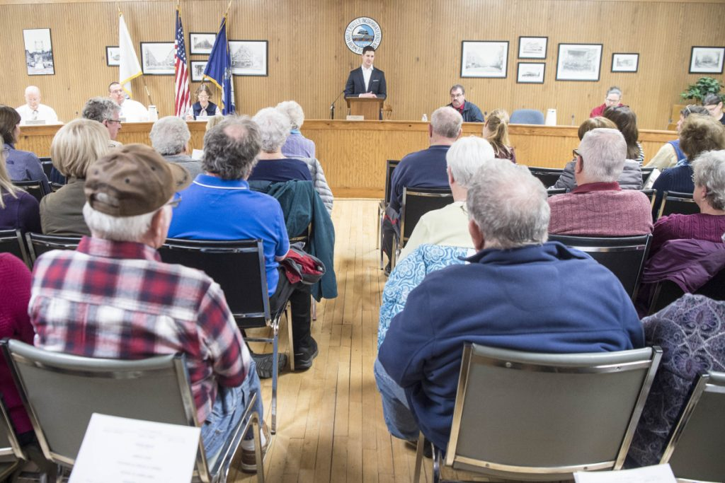 Waterville city mayor Nick Isgro opens the city council meeting in City Council Chambers on April 3. The Council meets Tuesday night to consider declaring an emergency and approving funds for city and school operations.