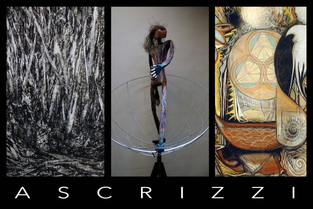 From left to right: Painting by Max Ascrizzi; sculpture by Tony Ascrizzi; detail of large pastel by Joseph Ascrizzi.