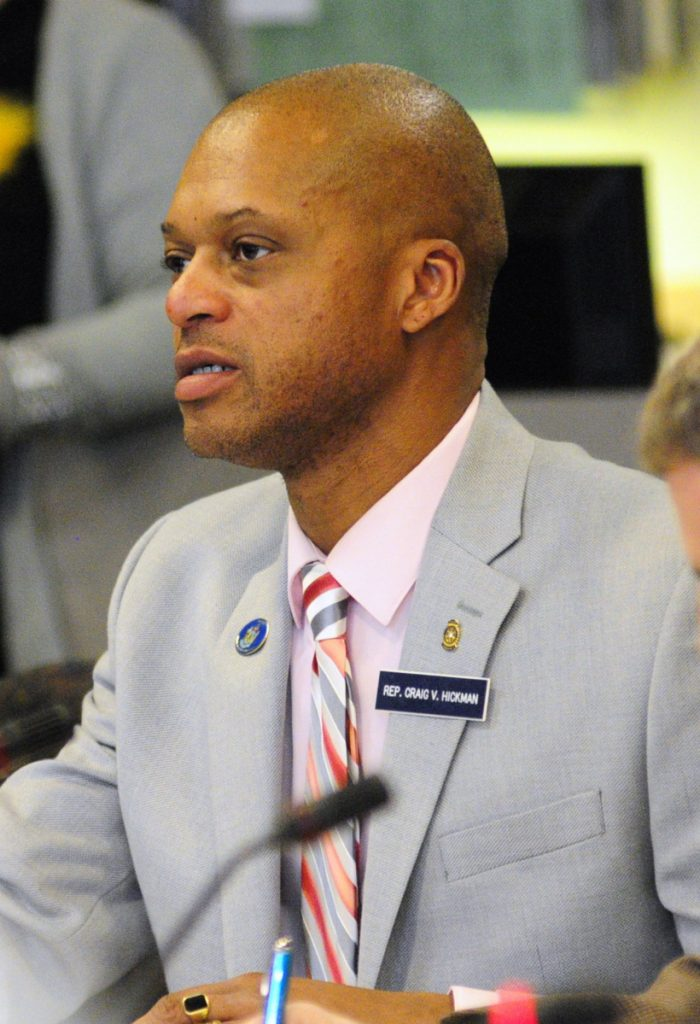Rep. Craig Hickman, D-Winthrop, asks a question on April 23, 2013, during a legislative hearing in the Burton M. Cross State Office Building in Augusta.