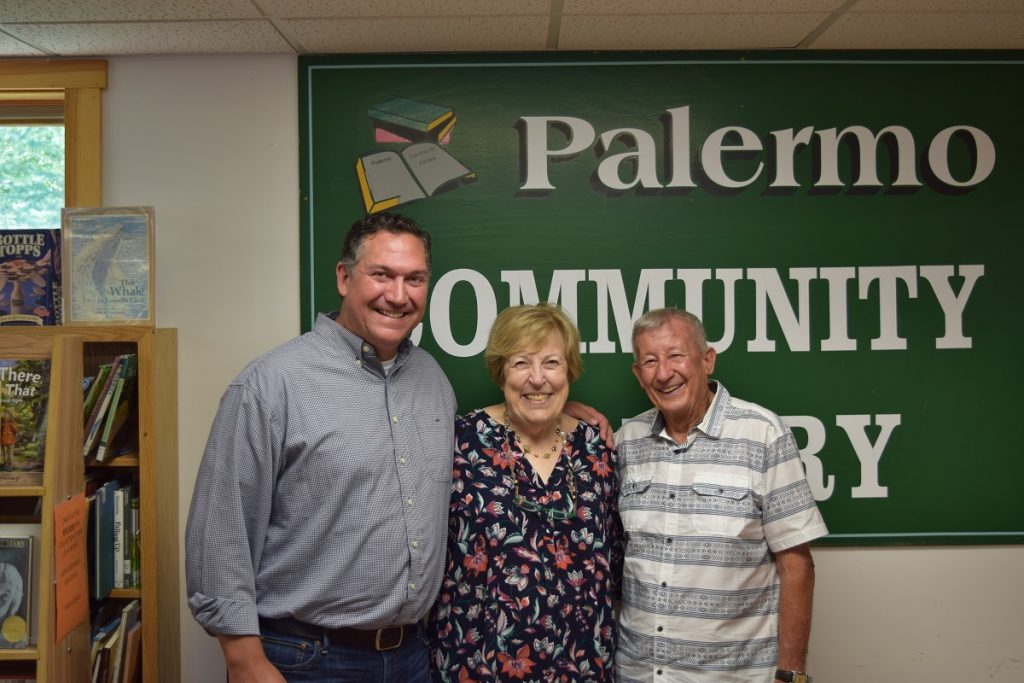 From left are current State Librarian Jamie Ritter, with former state librarians Linda Lord and Gary Nichols at the Palermo Community Library's 16th annual meeting.