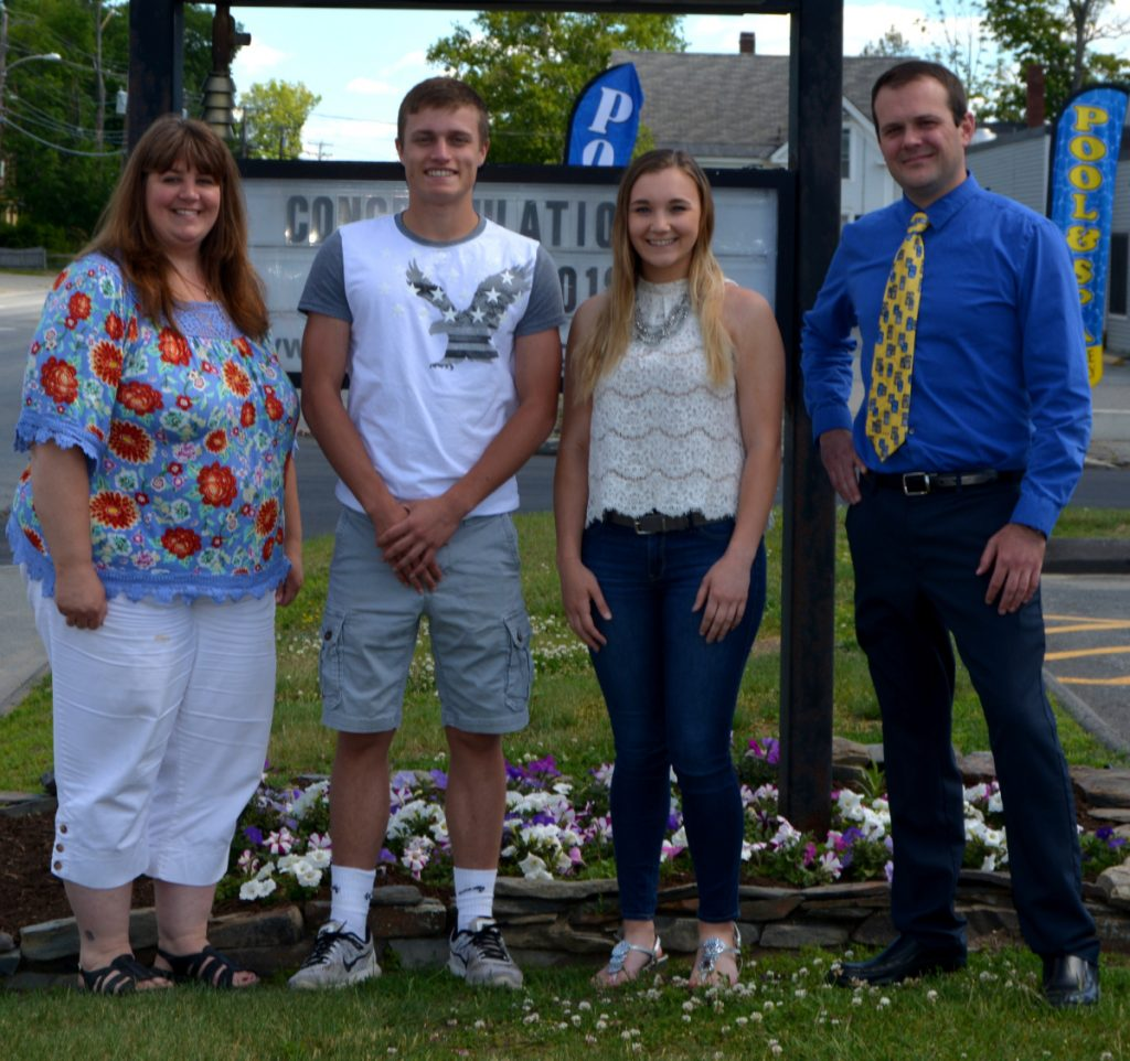 Central Maine area scholarships were awarded to Madison Area Memorial High School graduate Cavan Weggler, center left, and Carrabec High School graduate Melanie Clark, center right, with Franklin Savings Bank Assistant Manager Sherri Lewis, left, and Skowhegan Branch Manager Patrick Dore. Logan Malyk of Skowhegan High School was not available for the photograph.