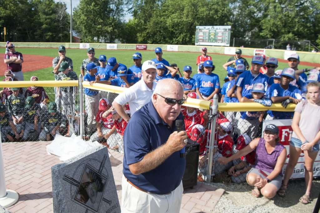 Former New York Yankees manager Stump Merrill talks to teams from around New England during opening ceremonies for the Cal Ripken 12U New England regional tournament Friday at Purnell Wrigley Field in Waterville.