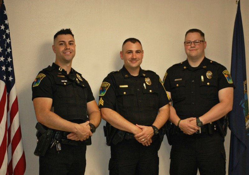 Winslow Police Department promoted officers, from left, are Capt. Haley Fleming, Patrol Sgt. Brad Hubert and Detective Alex Jones.