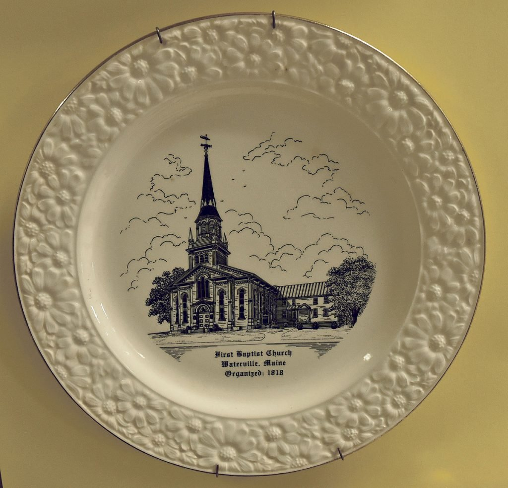 First Baptist Church souvenir plates were available to purchase during the 200th anniversary celebration on Sunday.